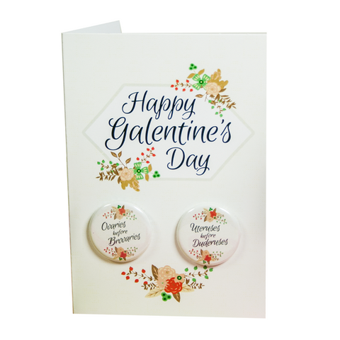 Galentine's Day - Button Greeting Card