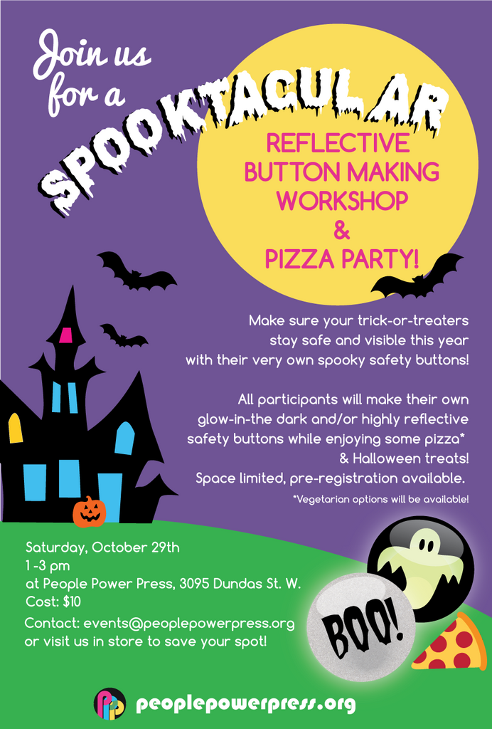 Halloween Reflect-O Safety Button Making + Pizza Party