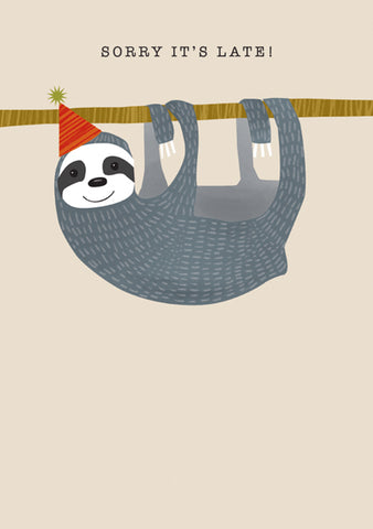 Adorable Hanging Sloth Belated Birthday Card