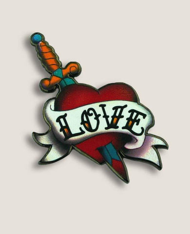 Tattooed Heart Design Enamel Pin from Trixie & Milo