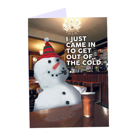 Snowman in pub - Greeting Card