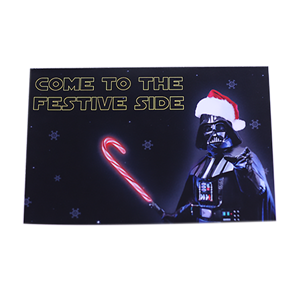 Star Wars parody Christmas Holiday Card 'Come to the festive side' Darth Vader holding Laser Candy Cane