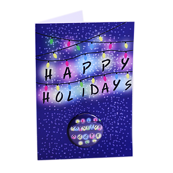 Stranger Things Christmas Lights Greeting Card with Button Mounted Upside Down