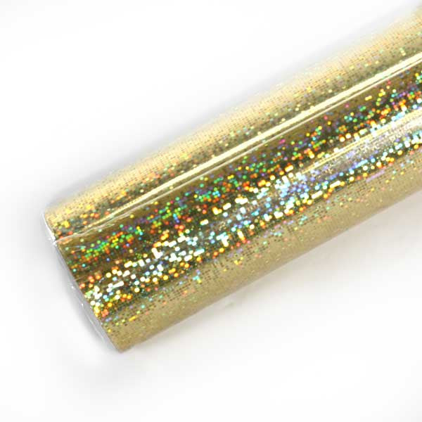 Gold Disco Holographic Foil Roll for Making Sparkley Buttons