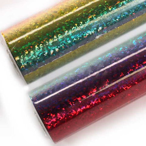 Rainbow Holographic Foil by the roll for Button Making from People Power Press