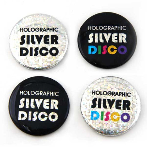 Silver Disco Holographic Foil for Button Making from People Power Press