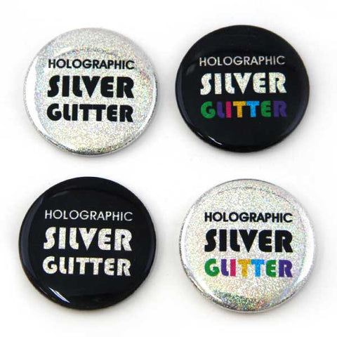 Silver Glitter Holographic Foil for Button Making from People Power Press