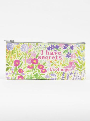 I Have Secrets Blue Q Pencil Case, Zipper Closure