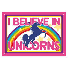 I believe in Unicorns Aquarius Metal Sign