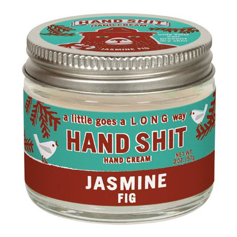 "No more dry hands with a jar of Blue Q all natural Beeswax and Vitamin-E ""Hand Shit."""