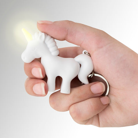 Balvi White Unicorn Key Ring with Light and Sound