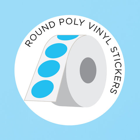 Round Poly Vinyl Stickers on a Roll from LabelsnStickers.com at People Power Press