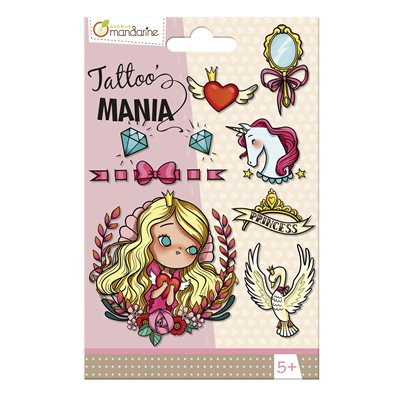Childrens' temporary tattoo, Princess theme