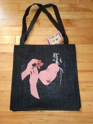 Large Black Jute Fibre Tote Bag