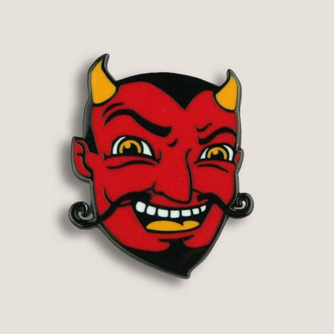 Enamel Pin with Laughing Devil Design