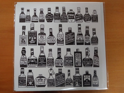 Quirky Liquor Bottles Greeting Card
