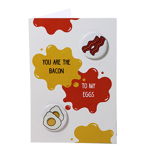 Bacon & Eggs - Button Greeting Card