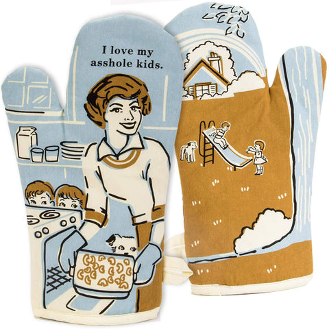 Funny for Mom. Great gift to make her smile, oven mitts.
