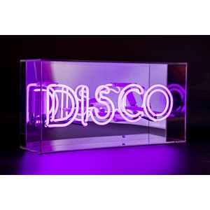 Funky Disco Neon Light in Acrylic Box, Bar Sign