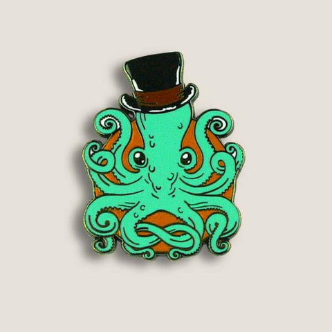Adorable Pins in Unique Designs, Cool Green Octopus