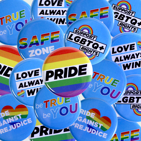 Mix of Pride buttons, Gay Activism Pins and LGBTQ+ Rights Badges