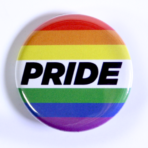 Pinback Button with Pride Rainbow for Pride Parade