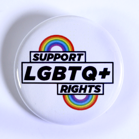 Support LGBTQ+ Rights White 2.25 Campaign Pin