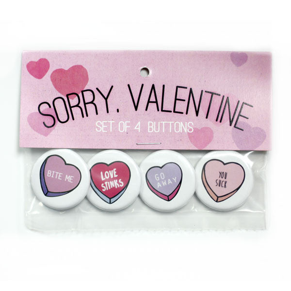 Sorry Valentine Buttons and Pin Packs