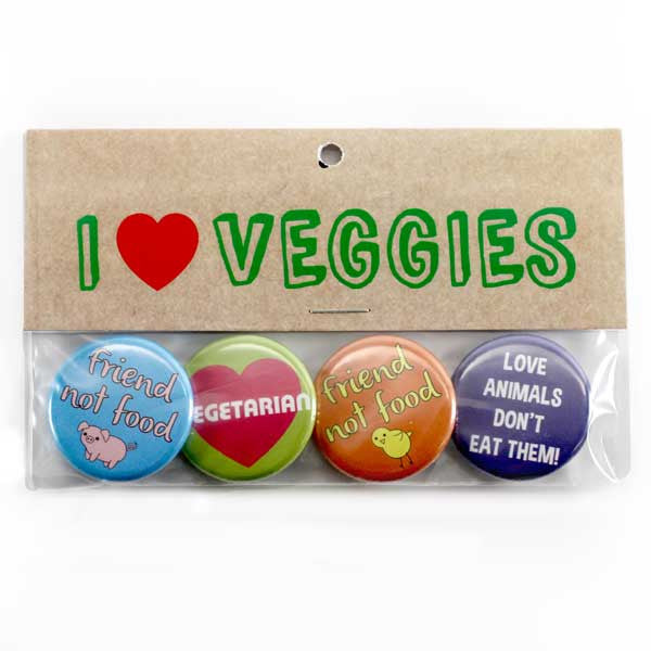 People Power Press Vegetarian and Vegan Button Collection Pack