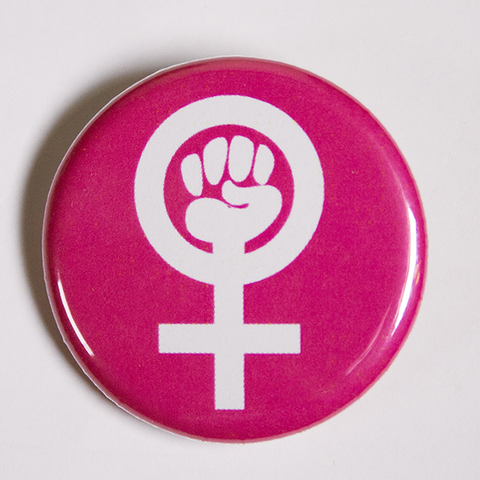 Feminist Venus Symbol Pink Button Badge
