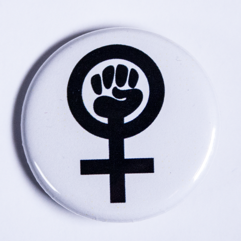 Feminist symbol button - venus symbol with clenched fist black and white