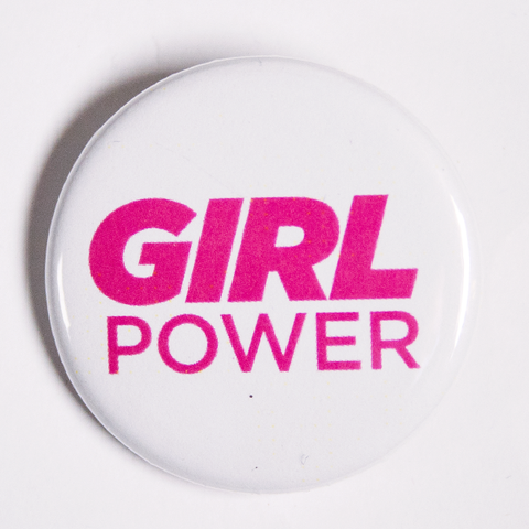 Pink and White Girl Power Pins