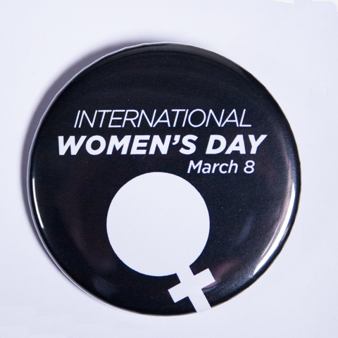 Small Black and White International Women's Day Button Badge