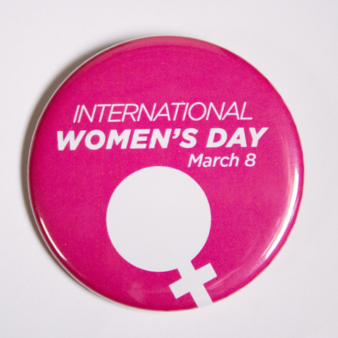 Pink International Women's Day Pinback Button