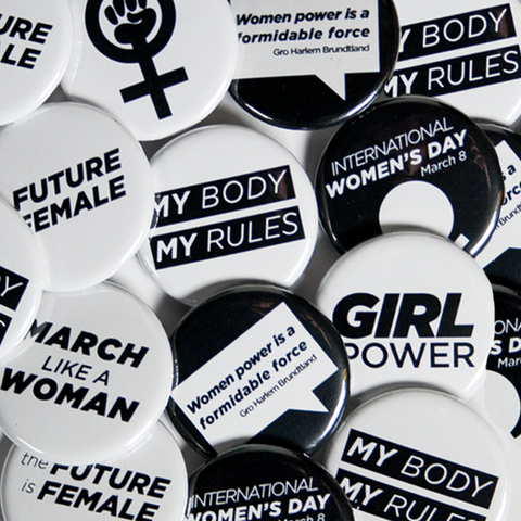 Mix of Female Empowerment Buttons and Women's Rights Pins