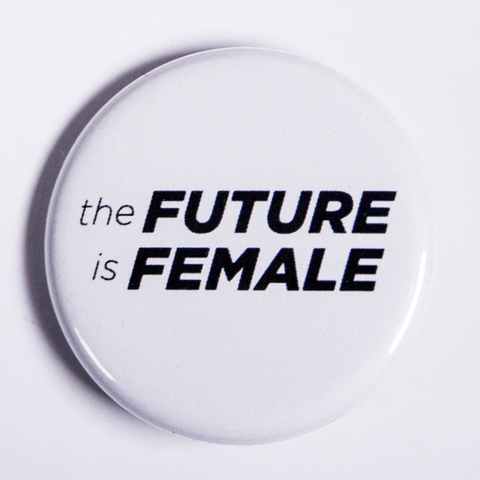 Small Black and White Women's Rights Pinback Button The Future is Female