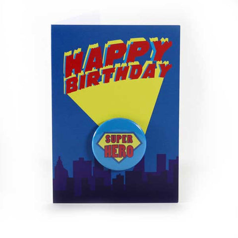 Happy Birthday Super Hero - Button Greeting Card