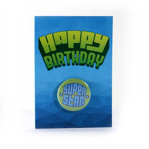 Happy Birthday Super Star - Button Greeting Card