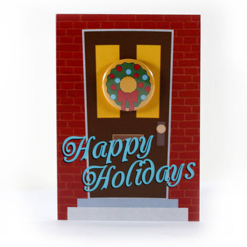 Happy Holidays Wreath - Button Greeting Card