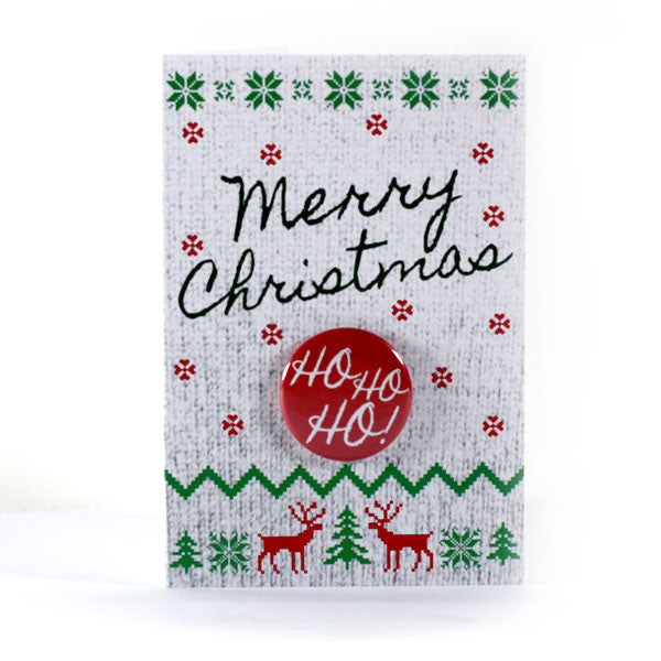 Merry Christmas Ho Ho Ho Button Greeting Card from People Power Press