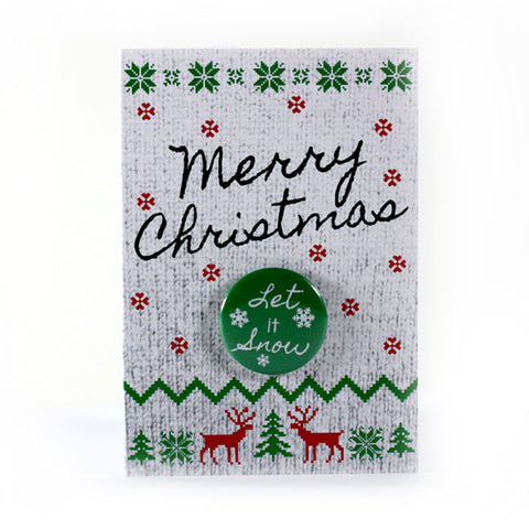 Merry Christmas Let it Snow Button Greeting Card from People Power Press