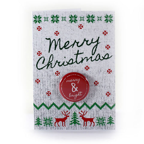 Merry Christmas Merry & Bright Button Greeting Card from People Power Press