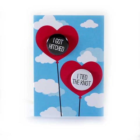 Wedding Love Balloons - Button Greeting Card