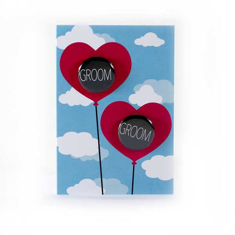 Groom and Groom Wedding Card Heart Balloons