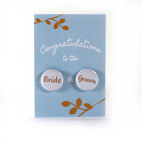 Wedding Congratulations - Button Greeting Card (Blue)