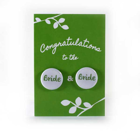Button Greeting Card Wedding Bride and Bride