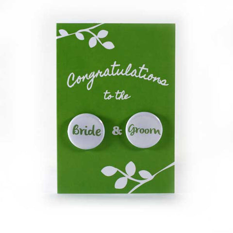 Wedding Congratulations - Button Greeting Card (Green)