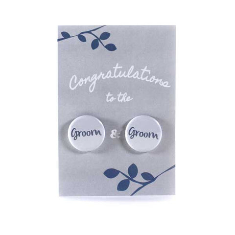 Button Greeting Card Wedding Groom and Groom