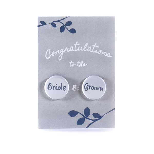 Button Greeting Card Wedding Bride and Groom