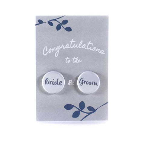 Wedding Congratulations - Button Greeting Card (Grey)